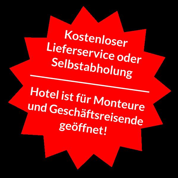 Lieferservice und Hotel-Hinweis